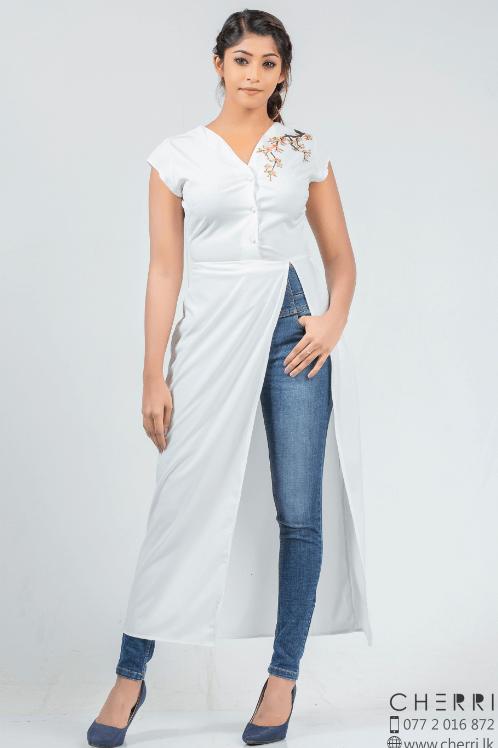 Cherry blossom print kurta top - white