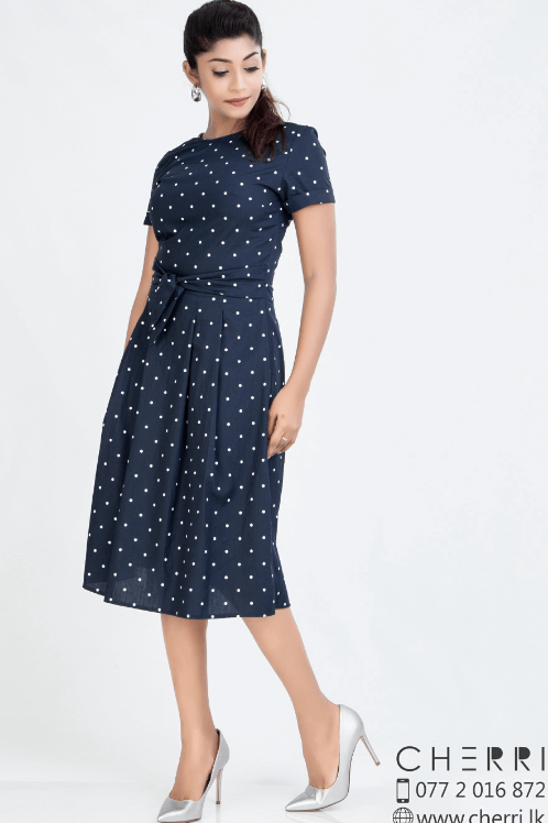 Polka dot short sleeve pleated dress