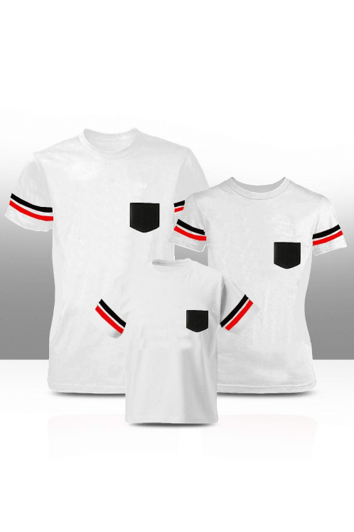 Black & red sleeve stripe t shirt with pocket - White ( Adults only )