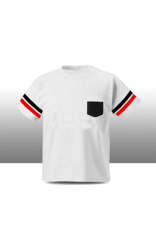 Black & red sleeve stripe t shirt with pocket kids tee - White