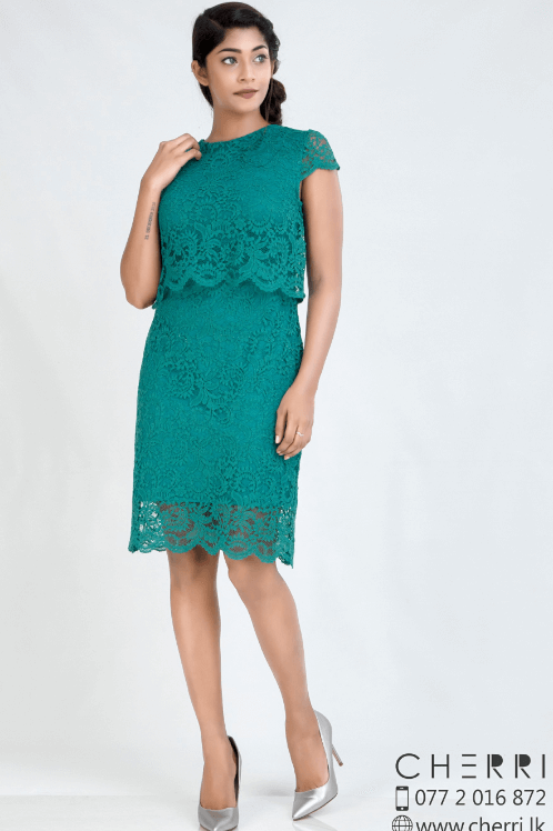 Charming teal lace dress