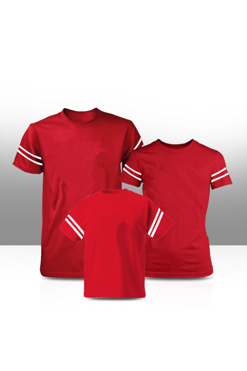 Sleeve stripe family tees - red  (adults only)