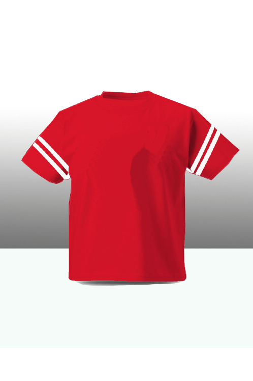Sleeve stripe kids tee - red