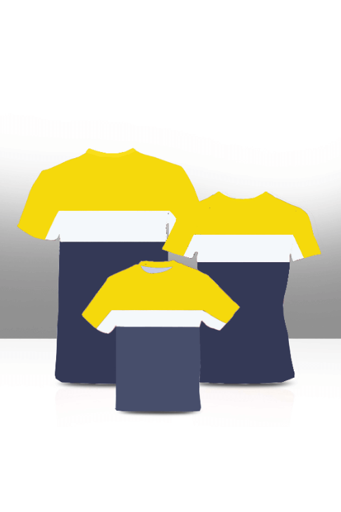 Color block family tees- yellow , white & navy ( Adults only)