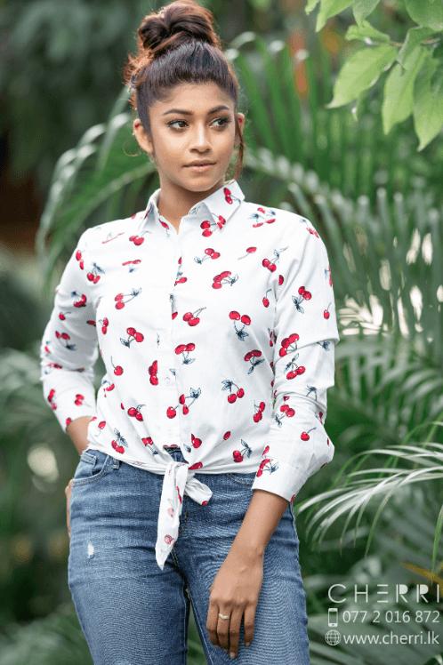 Tie front shirt top in cherry print