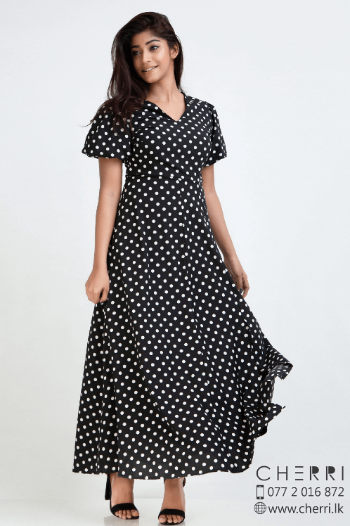 Bell sleeve polka dots maxi dress