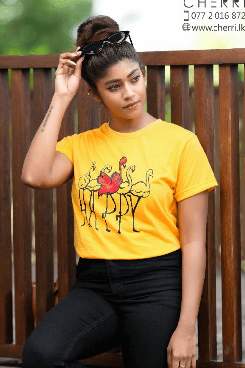 Cotton comfort casual tee-yellow
