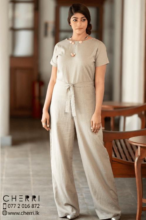 Drop shoulder Jumpsuit - linen