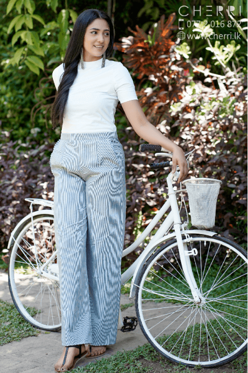 Casual Straight Striped Linen Pant