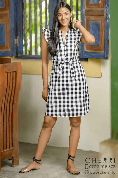 Ruffle Trim Black Checkered  Dress