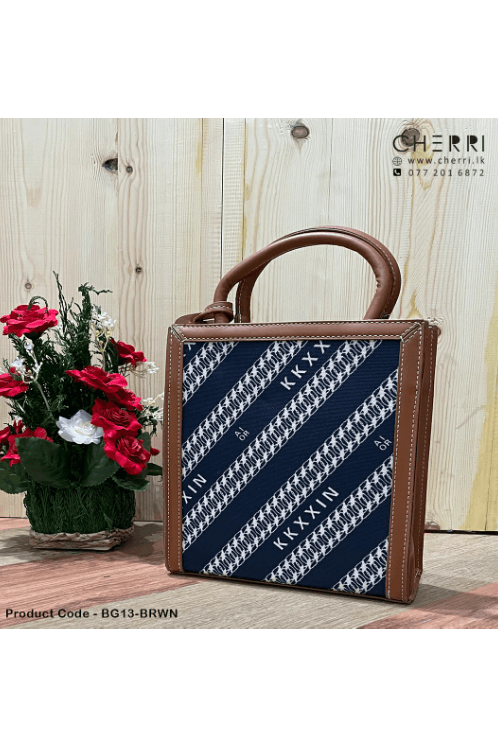 Woven Fabric Tote Bag - Brown
