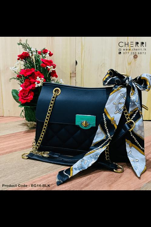 Double Chain Strap Turn-Lock Bag - Black