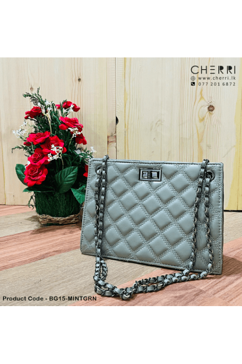 Quilted Chain Strap Clutch - Mint Green