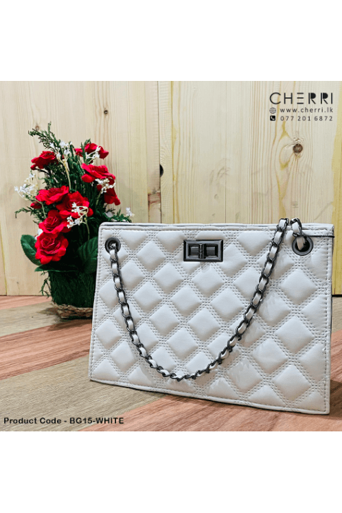 Quilted Chain Strap Clutch - White
