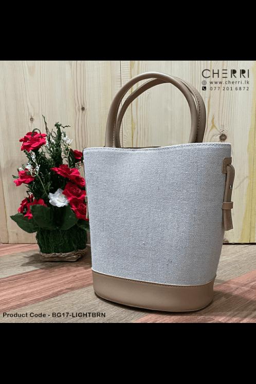 Ladies Woven Fabric Bag - Light Brown