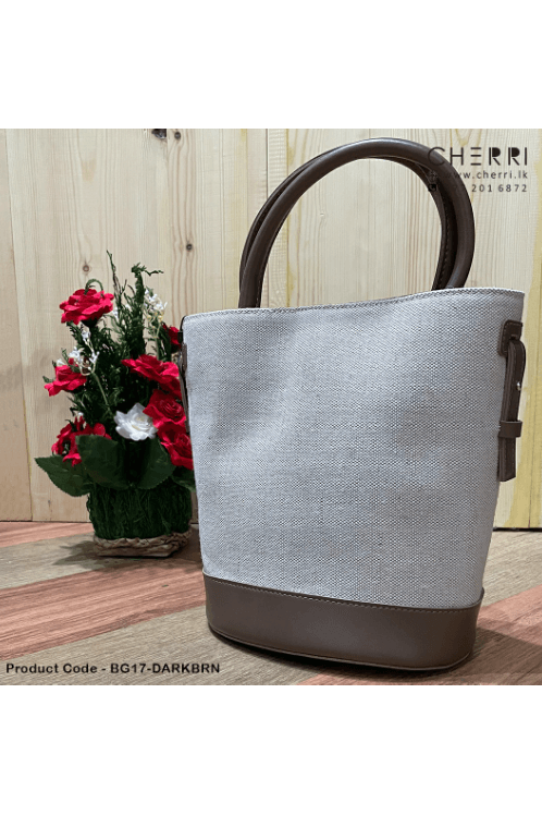 Ladies Woven Fabric Bag - Dark Brown