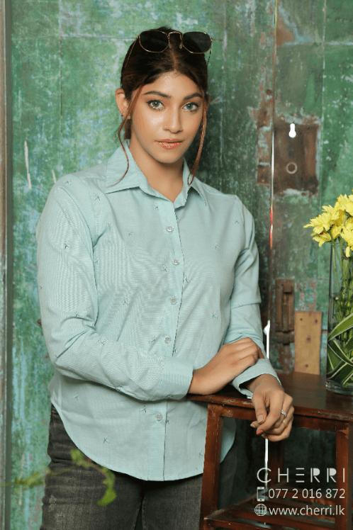 Long Sleeve Shirt Top - Light Blue