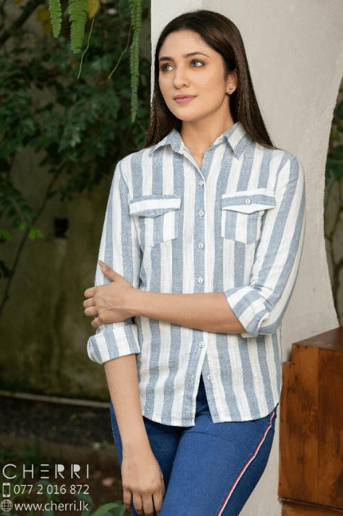Long sleeve linen shirt top - Stripe