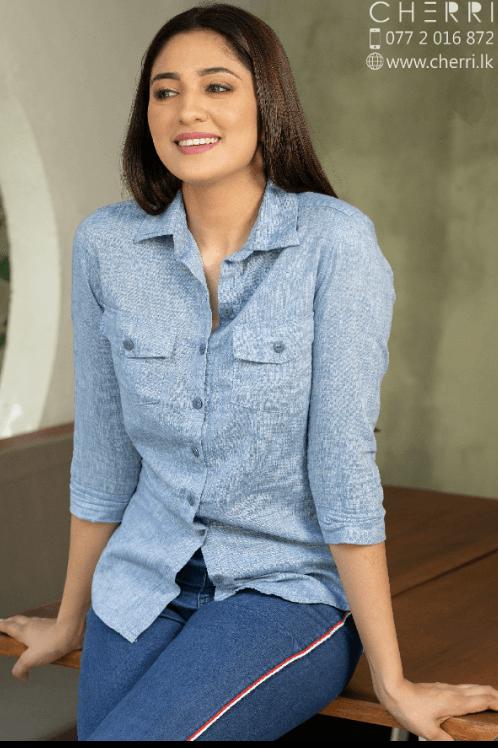 Half sleeve linen shirt top - sky blue